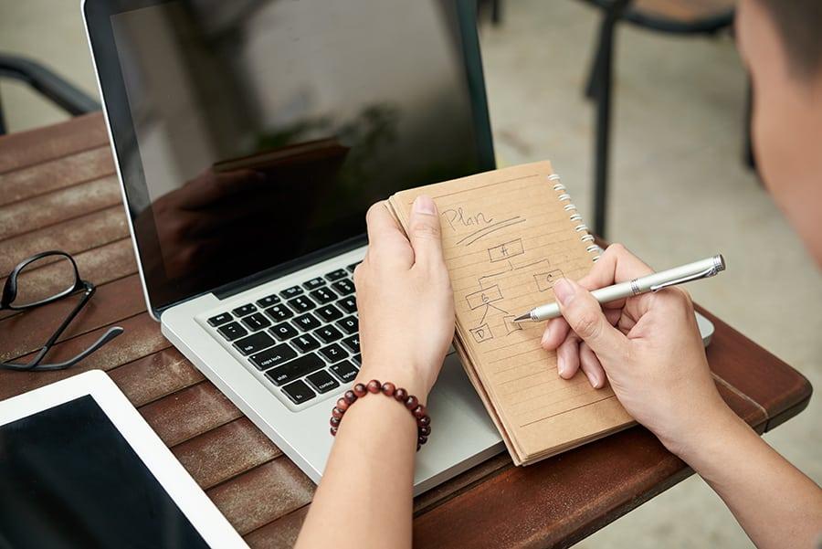 Pessoa fazendo desenho de processos em um caderno, em frente a um notebook, com dicas de gestão para fotógrafos.